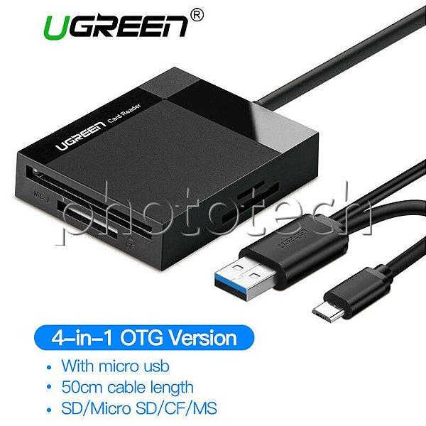 LEITOR DE CARTÃO E OTG USB 3.0 ANDROID SD CF MICRO SD MS XD UGREEN