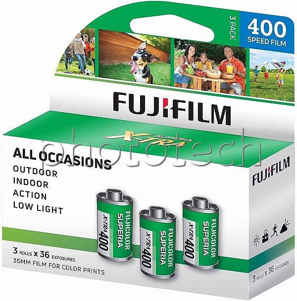 FILME FOTOGRÁFICO FUJIFILM 36 POSES ISO 400 SUPERIA X-TRA FUJICOLOR  PACK COM 3