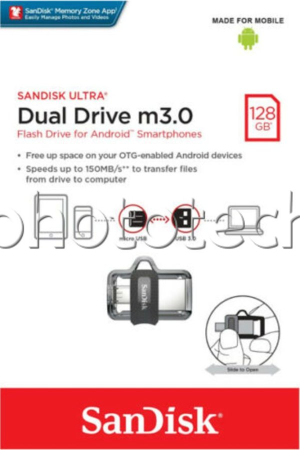 PEN DRIVE SANDISK DUAL DRIVE 128GB USB MICRO USB 3.0 150MB/s ORIGINAL LACRADO