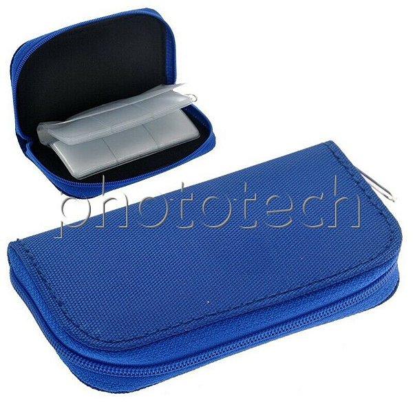 Porta Cartão de Memoria Com Ziper Azul Para 4 Cartões CF E 18 Cartões SD