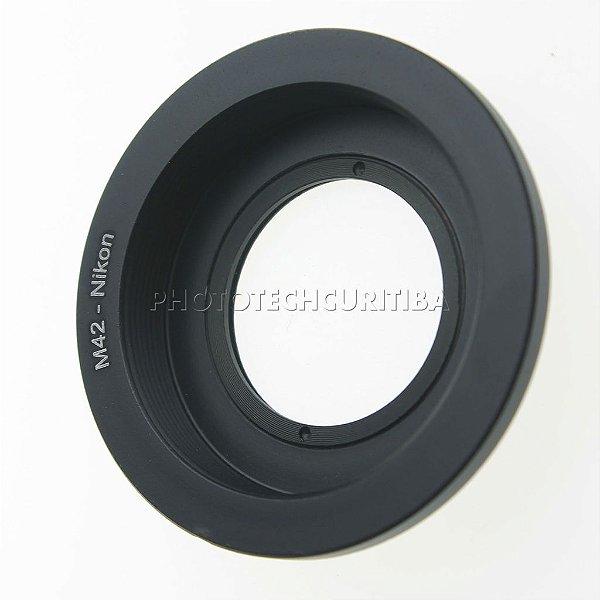 Adaptador de Lente M42 Para Nikon com Elemento Ótico M42-AI