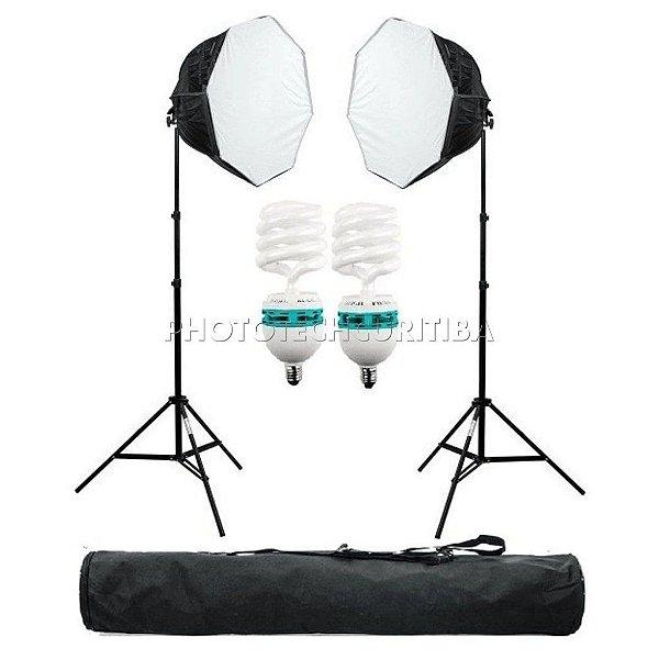 Kit Iluminação Agata III Com 2 Softbox Octagonal E Grid 2 Tripés 2 Lâmpadas 150W 110v Bolsa