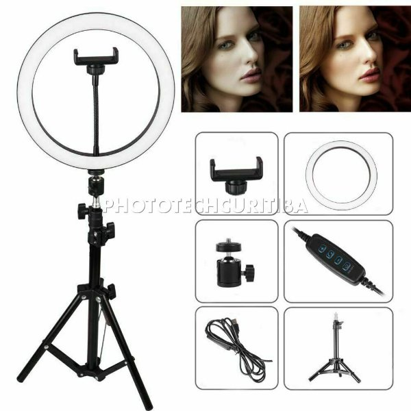 Iluminador de Led Ring Light 26cm 120 Led + Tripé + Suporte para Celular