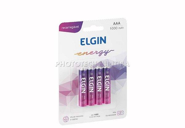 Pilha Recarregável  Elgin AAA C/4 1000 MAH
