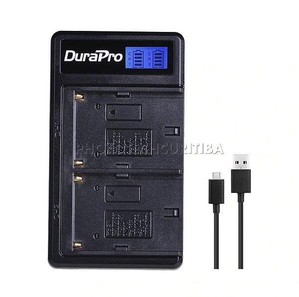 Carregador de Bateria Sony NP-F550/F570/F770/F950/F970 Digital Duplo DuraPro