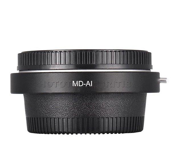 Adaptador de Lente Minolta Para Nikon Com Elemento Ótico MD-AI Andoer
