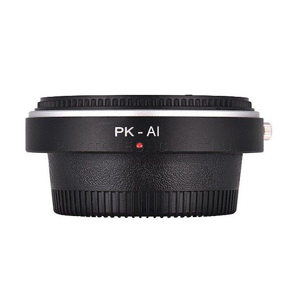 Adaptador de Lente Pentax Para Nikon Com Elemento Ótico PK-AI Andoer