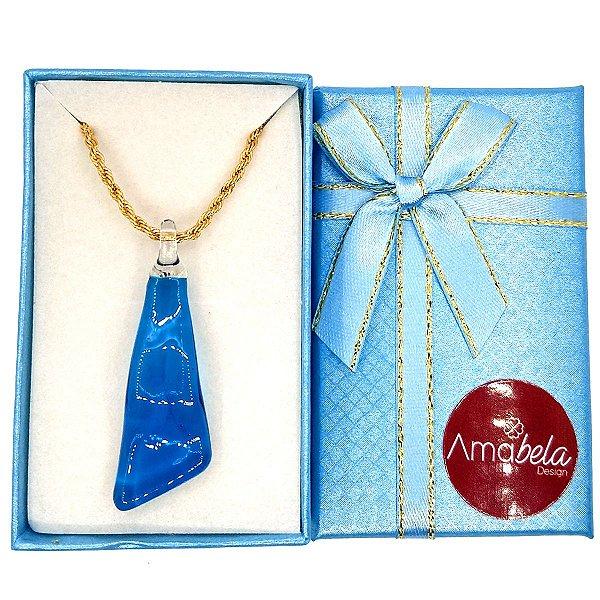 Colar com pingente de cristal artesanal ondulado azul