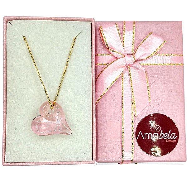 Colar com pingente de cristal artesanal coração rosa