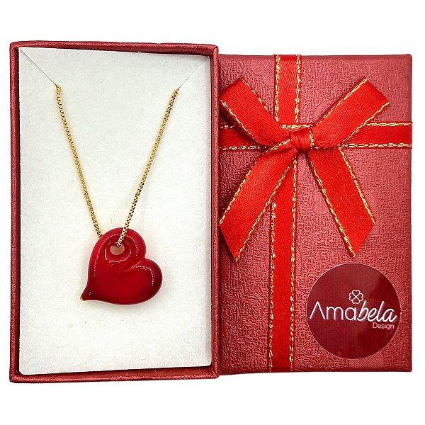 Colar com pingente de cristal artesanal coração vermelho