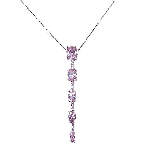 Colar gravatinha rodio branco com pingente de cristal rosa