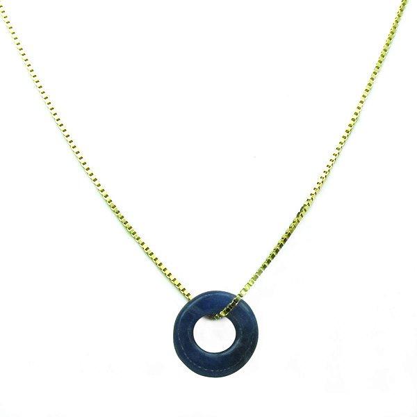 Colar ouro 18k com pingente argolinha pedra natural azul