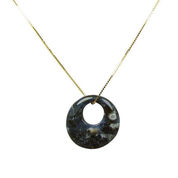 Colar ouro 18k com pingente pedra natural azul redonda