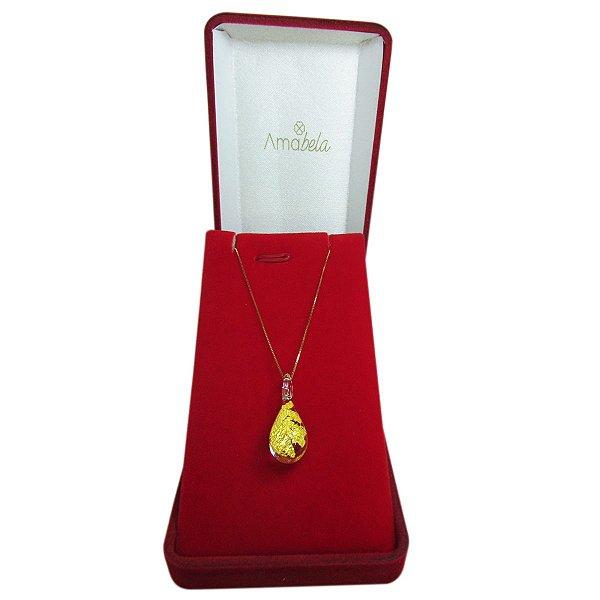 Colar ouro 18k e pingente gotinha de cristal artesanal dourada