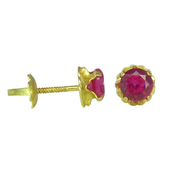 Brinco ouro 18k zircônia rosa (Tarraxa rosca)