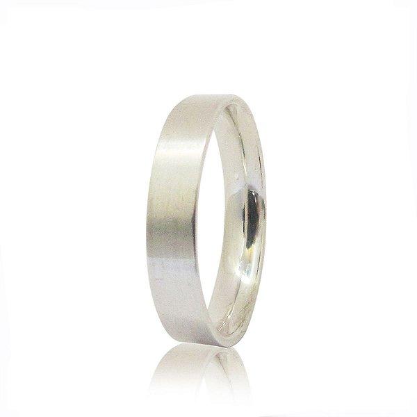 Par de Aliança de Compromisso (Prata) Reta 4mm