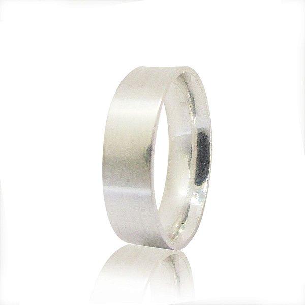 Par de Aliança de Compromisso (Prata) Reta 5mm