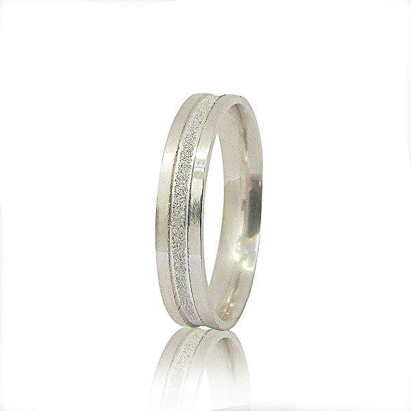Par de Aliança de Compromisso (Prata) Reta 4mm canal central diamantado