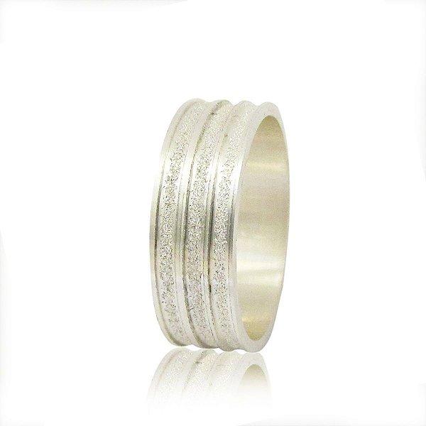 Par de Aliança de Compromisso (Prata) Reta 7mm filete diamantado