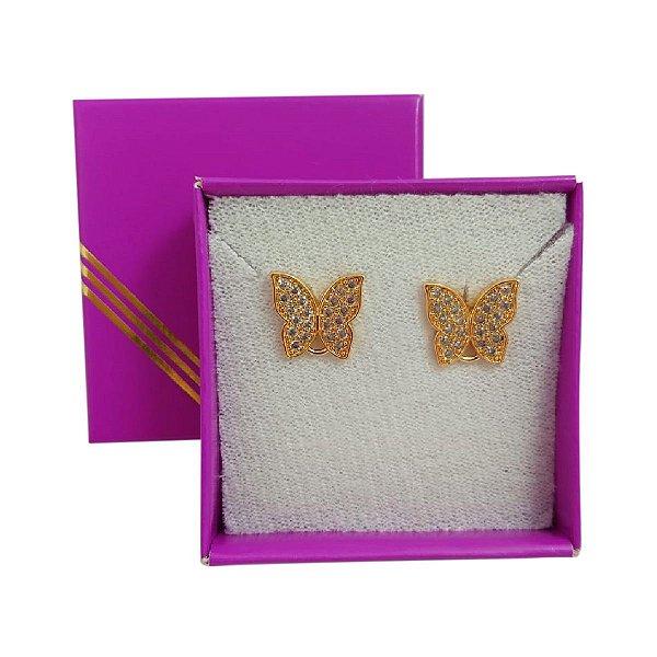 Brinco banho ouro borboletas com zircônias