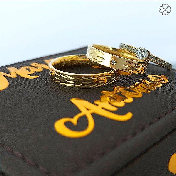 PAR DE ALIANÇA Ouro 10k Reta 4 mm folhas (anel não incluso)