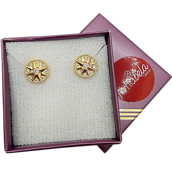 Brinco banho ouro redondo estrela com zirconias