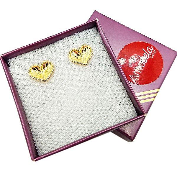 Brinco banho ouro coração com detalhe de zirconias