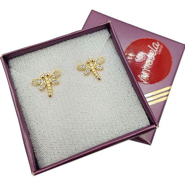 Brinco banho ouro libélula