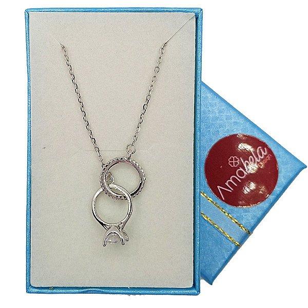 Colar prata com pingente anel solitário