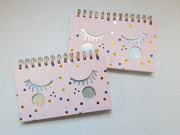 Caderno Agenda Holográfico Cílios Glitter
