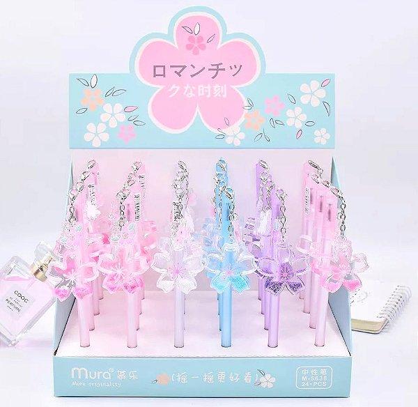 Caneta Glitter Flor Sakura