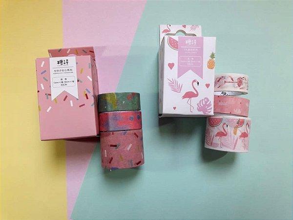 Kit Com 3 Washi Tapes Flamingo Frutinhas e Docinhos