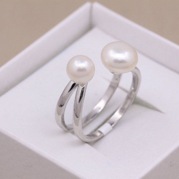 Anel Edge Double Pearls