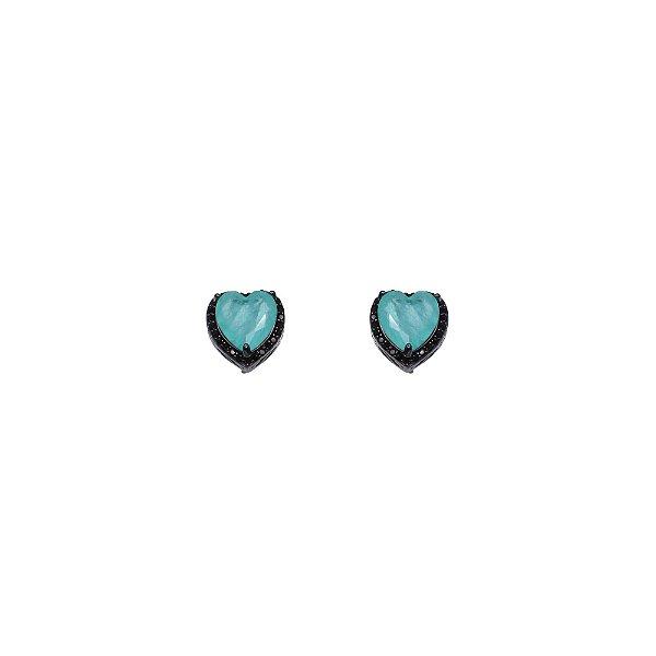 Brinco coração micro cravejado