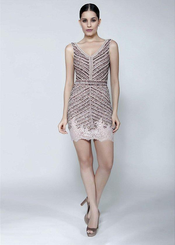 Vestido Curto/Longo de Renda Bordado Cosh - Rosê