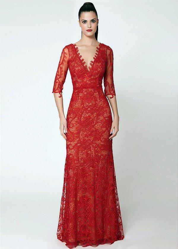 Vestido Longo de Renda e Tule Cosh - Vermelho Rubi