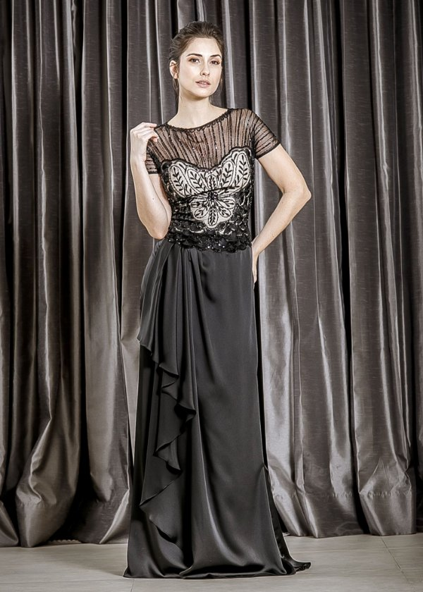 Vestido Longo de Cetim e Tule Bordado Rosa Clará - Preto