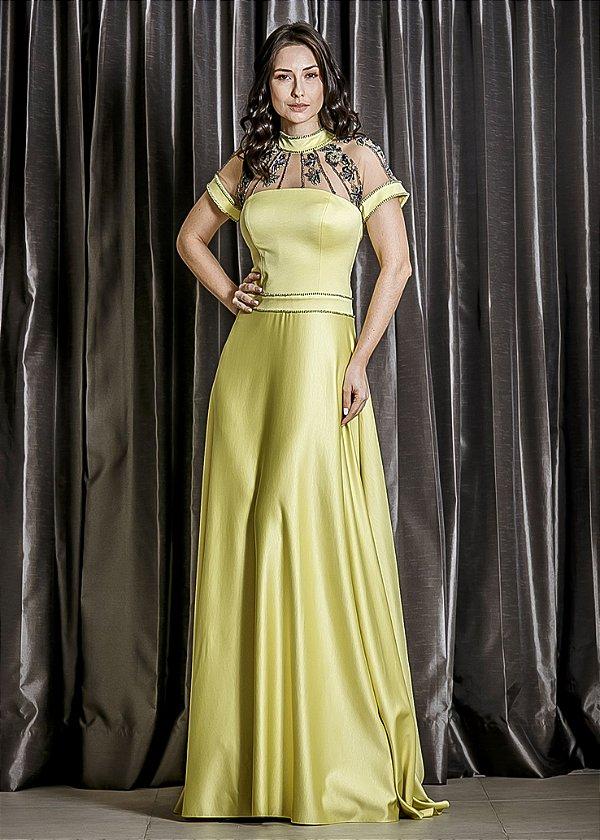 Vestido Longo de Mikado Arte Sacra - Amarelo Limão