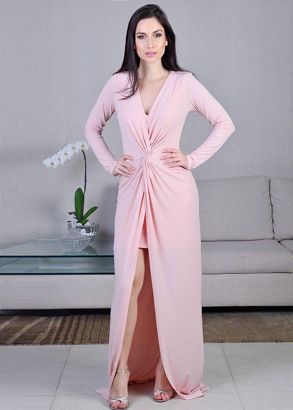 Vestido Longo de Malha com Drapeado Unity Seven - Rosa