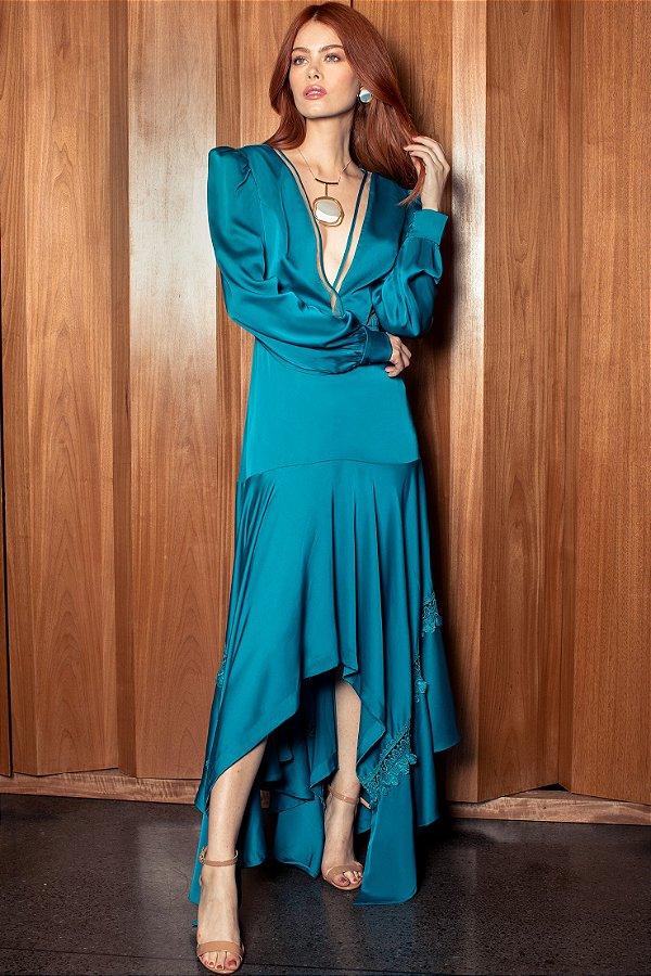 Vestido Longo com Mangas Longas Cetim PatBo - Azul