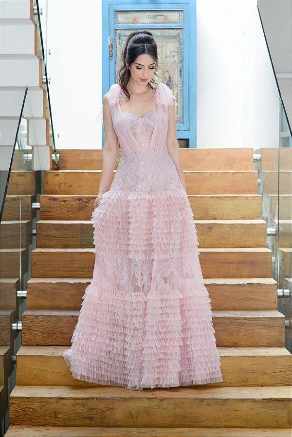 Vestido Longo de Tule La Vita - Rosa