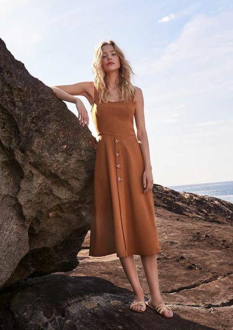 Vestido Linho Midi - Liso