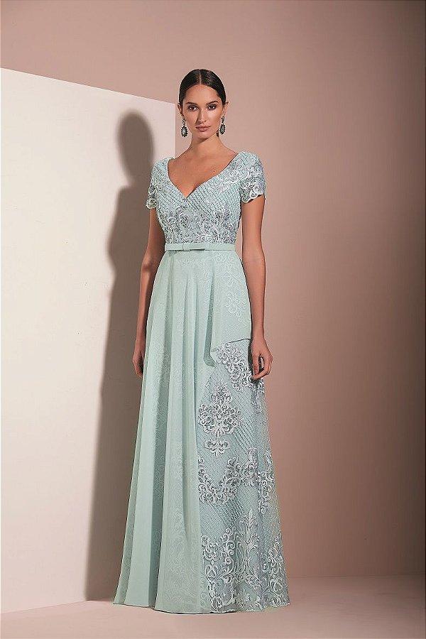 Vestido Longo Evasê Bordado Kalandra - Azul