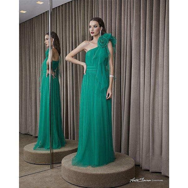 Vestido Longo Plissado Com Arranjo Flores - Verde
