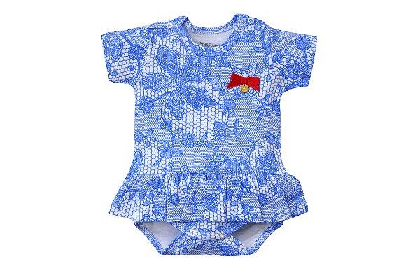 Body Vestido Renda Azul