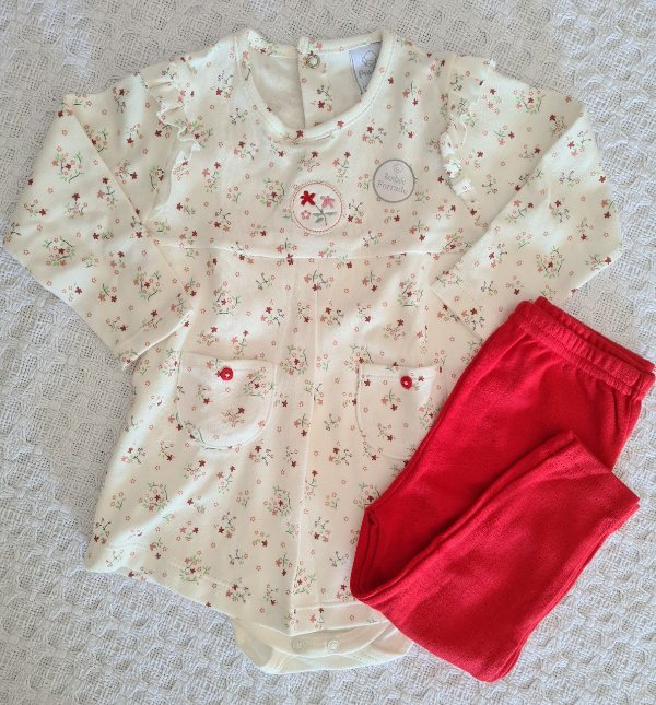 Conjunto Vestido/Body e Calça Floral