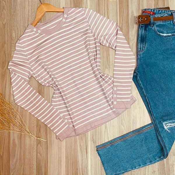 Blusa Tricot Dayane Listras Branco e Rosê