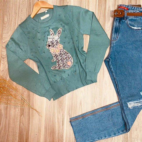 Blusa Tricot Modal Coelhinho com Pérolas Verde Mint