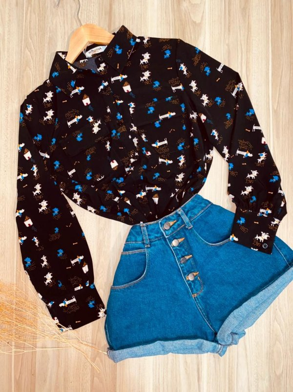 Camisa Cachorrinhos Rute Black