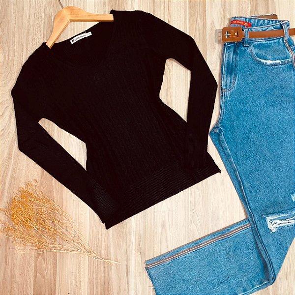 Blusa Tricot Modal Gola V com Textura Sarah Black